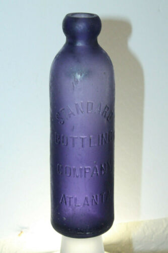 ANTIQUE PURPLE ATLANTA GA STANDARD BOTTLING COMPANY HUTCHINSON SODA BOTTLE