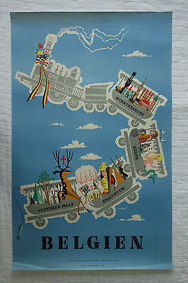 Poster Plakat - Belgien - original vintage - ca. 1958 - Conrad - Travel Belgique