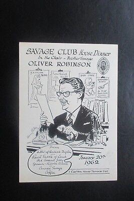 1962 THE SAVAGE CLUB MENU CARD HARRY RILEY CARTOON CARICATURE LOLIVER ROBINSON