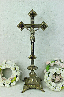 Antique French religious spelter crucifix cross putti angels base