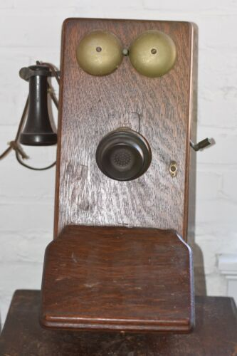 Antique Northern Electric Company Limited Wooden Oak Wall Mount Crank Phone 1914