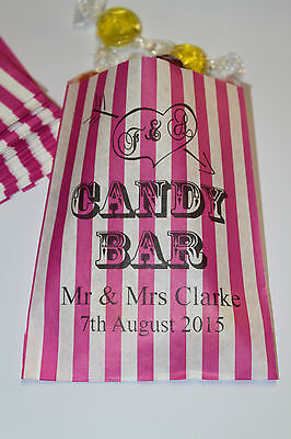 PERSONALISED Candy Bar - Wedding Sweet Bags - Buffet Sweet Cart - Pink (Heart Candy Bars)