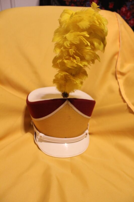Ostward Marching Band Hat with Feather  Plum Maroon and Gold Vintage 1960