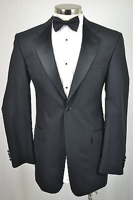 40L MINT! Stafford Men's Black Wool Classic Pleated Front 2 Piece Tuxedo 31x32