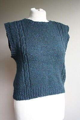 Handmade Ox Creek Woolens Cropped Knit Sweater Vest Top Asheville NC ()