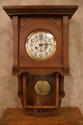 Antique Junghans B13 Wall Mount German Clock 28 by 16 by 7 + Key Double Door