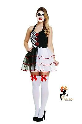 ADULT JESTER EVIL FEMALE Halloween Fancy Dress  Ladies  Clown COSTUME](Scary Female Clown Costume)