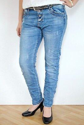 KAROSTAR DESTROYED JEANS HOSE BOYFRIEND BAGGY NEU KNÖPFE BLAU 38 40 42 44 46 48 Destroyed Boyfriend-jeans