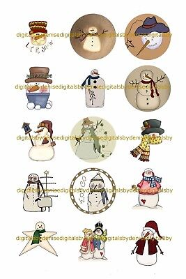 Christmas Snowmen A 1  Circles Bottle Cap Images   2 45  5 50    Free Shipping
