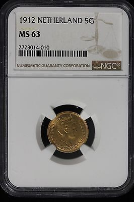 Click now to see the BUY IT NOW Price! 1912 NETHERLANDS. 5 GULDEN. GOLD. NGC GRADED MS 63.