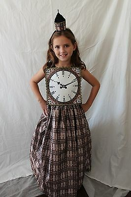 Big Ben Clock Tower British Kids Costume United Kingdom Girls Dress Headband - Big Girl Costumes