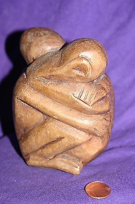 Fine Old Bali Hand Carved Wood Hugging couple Ball Sculpture Statue