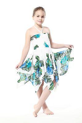 Gypsy Girl Dress Summer Beach Hawaiian Cruise Luau Elastic White Blue Hibiscus - Bohemian Girl Dresses