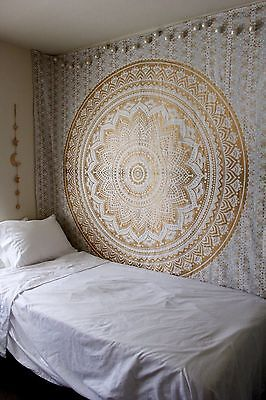 Indian Mandala Tapestry Hippie Wall Hanging Bohemian Gold Bedspread Throw Decor