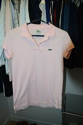 Lacoste Women's Classic Alligator Short Sleeve Pink Slim Fit Polo Shirt Size 38