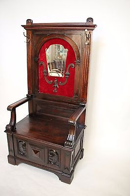 Antique Gothic French Hall Tree Mirror on red velvet Dark Oak Large Throne Seat