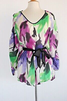 GORGEOUS ZARA BASIC BLOUSE/TUNIC IN 100% SILK AND MULTI-COLOR SIZE LARGE NWOTAG!