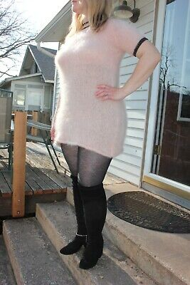 Fuzzy pink mohair 'babydoll' sweaterdress! Fluffy and furry and FUN!