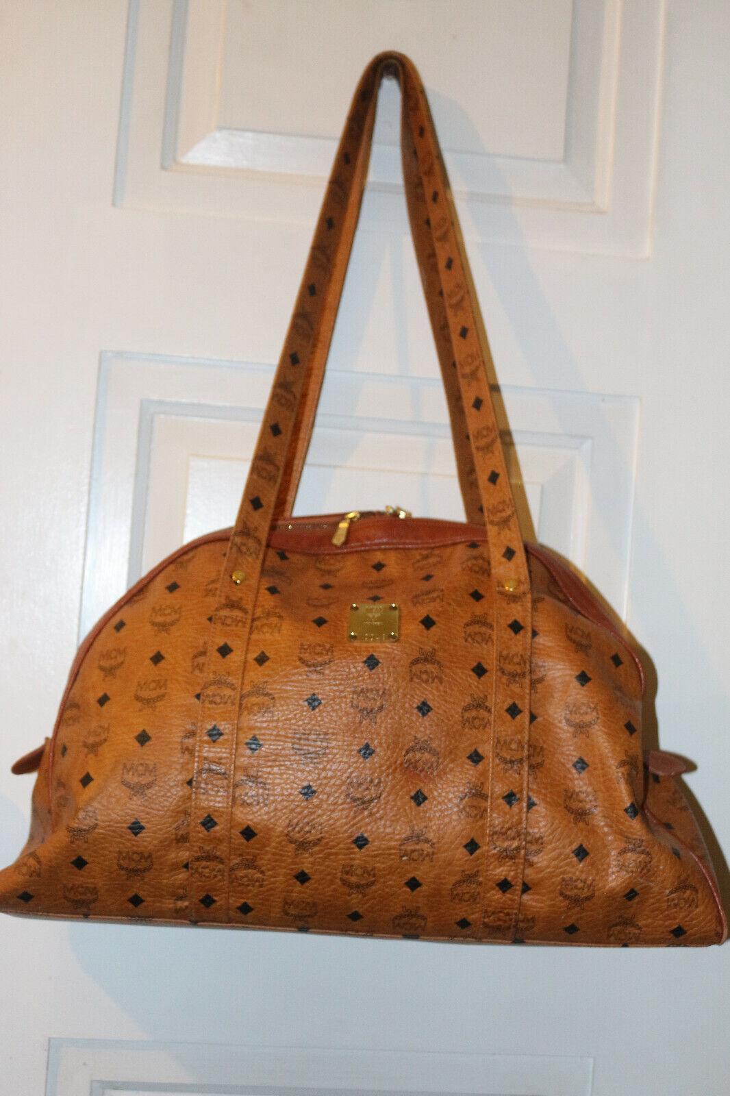 MCM Cognac Monogram Weekend Travel Bag V0049 - $201.00