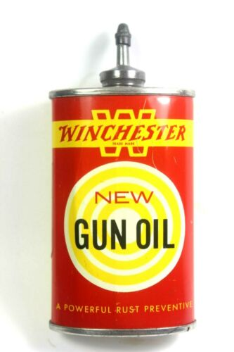 VINTAGE WINCHESTER GUN OIL LEAD TOP 3 OZ. CAN ( YELLOW  BAND W )