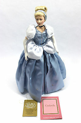 Franklin Heirloom Porcelain Dolls - Cinderella Walt Disney w/Box Missing Slipper