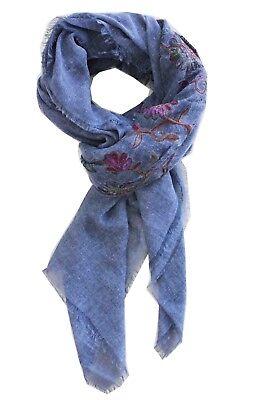 Schal Blau Denim Tuch Stickerei Blumen Big Square Herbst Winter Weiche L - Big Square Schal