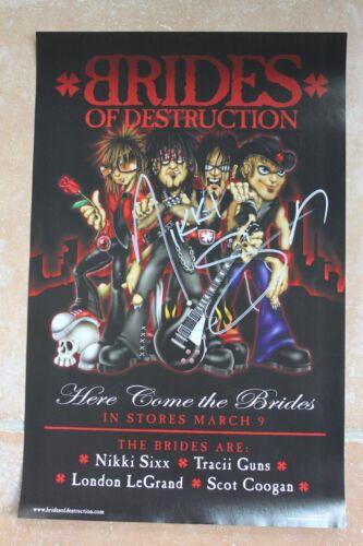 Nikki Sixx Signed Brides Of Destruction Motley Crue Album Poster Autographed