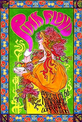 "Pink Floyd Poster Art ""Saucerful Of Secrets"" 20x30 Reproduction 60's Psychedelic"