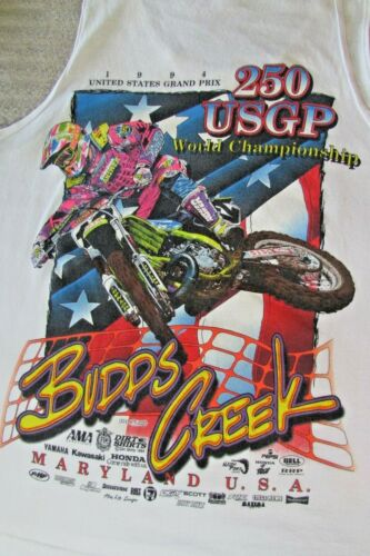 Vintage US Grand Prix Motocross BUDDS CREEK Tank Top 1994 XL Dirt Shirts USA