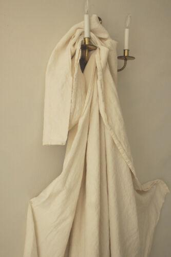 Antique French white linen sheet trousseau 74X98 LP monogram cotton mix fabric