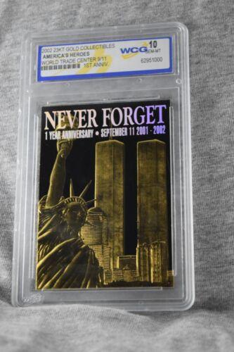 World Trade Center 9/11 Commemorative 1-Year Anniversary Card 24k Gold (Black...