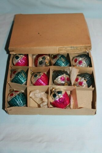 10 Vintage Occupied Japan Glass Mini Basket Christmas Ornaments in Box 6522