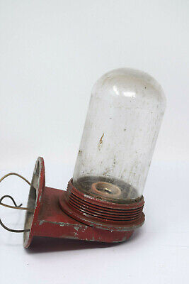 Rare Vintage Red Stonco Industrial Fire Alarm Emergency Light Glass Shade Dome