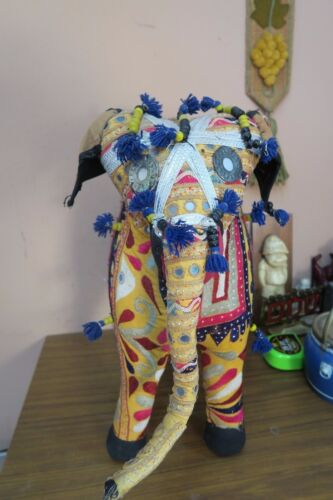 "Vintage Embroidery Mirrorwork Elephant 15""x19"" Ethnic Rajasthan Banjara India"
