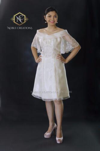 FILIPINIANA EMBROIDERED Off-Shoulder DRESS - Silk Maria Clara Philippines -Beige