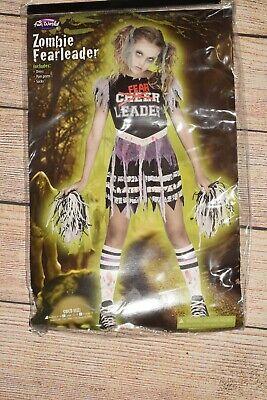 FUN WORLD GIRLS 12 14 ZOMBIE FEARLEADER CHEERLEADER 3 PC COMPLETE COSTUME SET