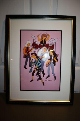 "Aerosmith ""The Simpsons"" 1992 ORIGINAL Animation Cel Framed Steven Tyler RARE"