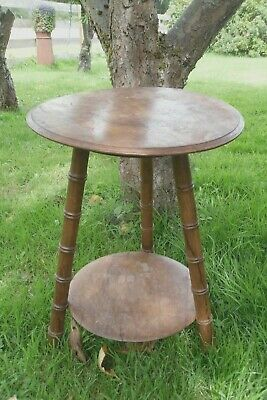 Vintage Wooden Three Leg Wicket tablet with shelf needs restoration polishing
