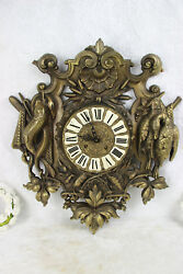 Black forest metal bronze gold gilt wall clock hunting trophy hunt bird fish