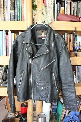 Vintage 90s Vanguard Motorcycle Biker Punk Leather Jacket Black MENS 48