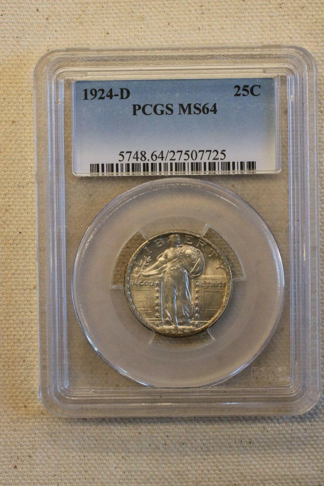 1924 D 25C Standing Liberty Quarter PCGS MS 64 Uncirculated Original - $425.00