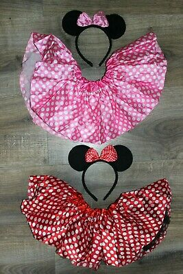 NEW Girl Toddler Pink Red MINNIE MOUSE Tutu Ears Outfit Disney First Birthday](Disney Tutu Outfits)