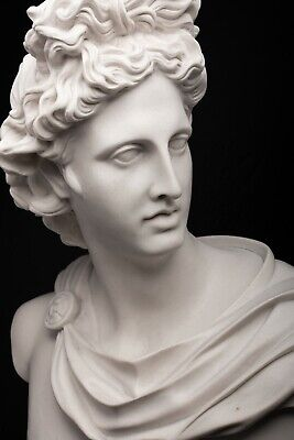 Marble Bust of Apollo, Greek God. Classical Sculpture, Gift, Art, Ornament.