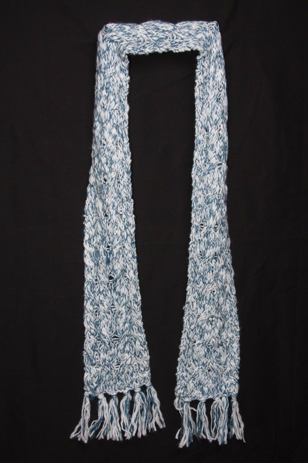 Grey 7 silver Classical Loose Knit W Sparkly Sequins Infinity Shape Scarf S186