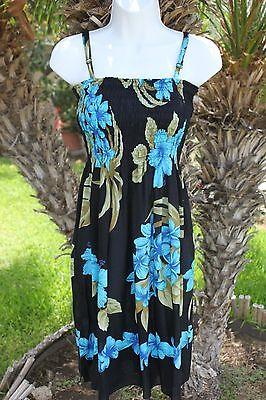 Schwarz Blau Luau Hawaiian Floral Plumeria Verstellbare Träger Shorts Strand
