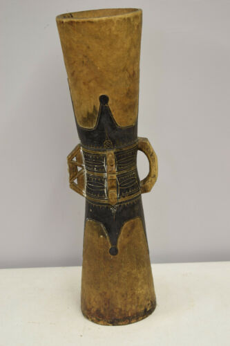 Papua New Guinea Siassi Musical Hand Carved Black Wood Drum