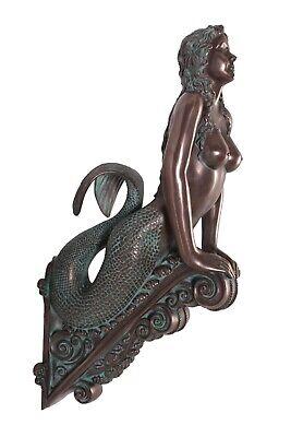 "Verde Bronze Finish Marinea Sea Siren Mermaid Figurehead Large Sculpture 36"""