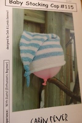 Cabin Fever Knitting Pattern 115 Baby Stocking Cap up to 1 yr
