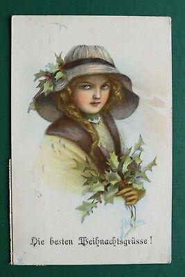 K NSTLER HARRISON AK WEIHNACHTEN 1920 FRAU KLEID HUT MODE HOLLY ZWEIG CHRISTMAS