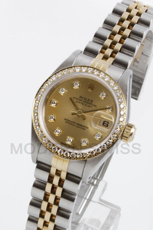 Rolex Ladies Datejust 18k Gold Steel Champagne Diamond Dial Bezel 69173 Quickset
